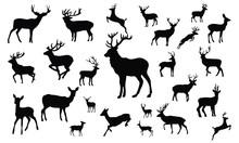 Deer Silhouette, Set Vector Animals Icons