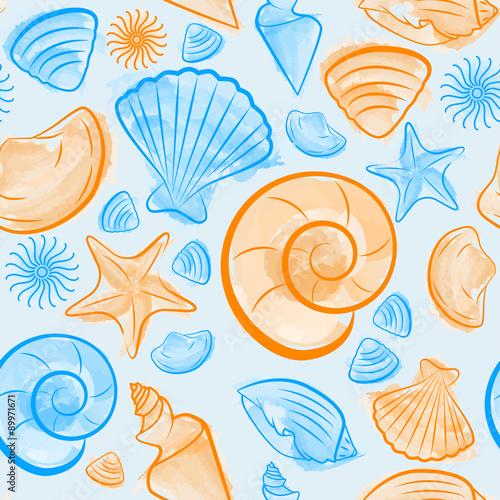 wzor-z-muszelek-stworzony-przez-pedzle-akwarela-niebieski-i-pomaranczowy