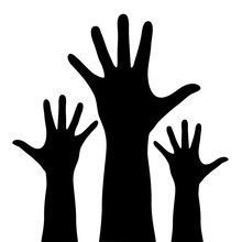 Raised Hands Silhouette Isolat...