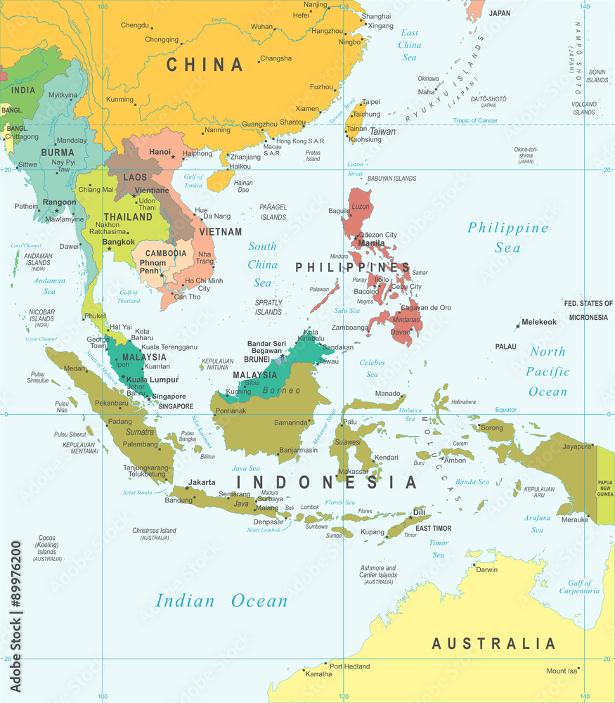 picture about Printable Map of Southeast Asia called Photograph Artwork Print Southeast Asia - map - case in point