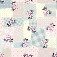 Retro Patchwork With Roses.