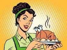 Woman Hot Dish Bird Potatoes