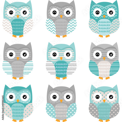 Poster Uilen cartoon Aqua Grey Cute Owl Collections