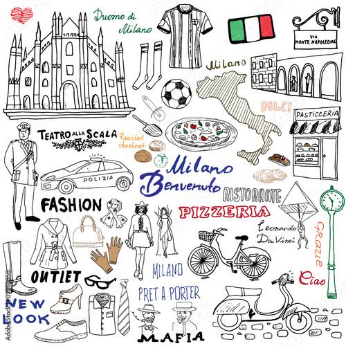 elementy-szkicu-mediolan-wlochy-recznie-rysowane-zestaw-z-katedra-duomo-flaga-mapa-butami-modnymi-przedmiotami-pizza-ulica-handlowa-transportem-i-tradycyjnym-jedzeniem
