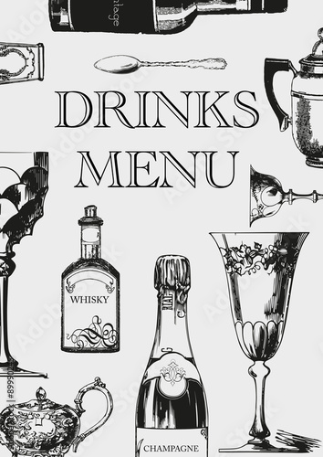 Elegant Vintage DRINKS MENU - Buy this stock illustration