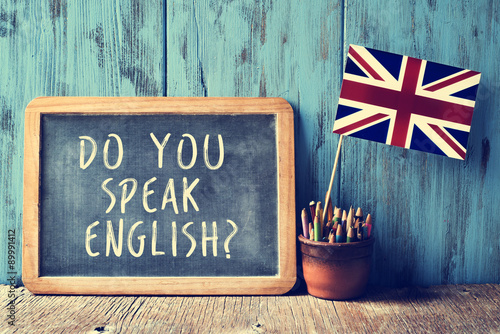 Fototapeta text do you speak english? in a chalkboard, filtered obraz