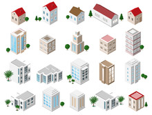 Set Of 3d Detailed Isometric City Buildings: Private Houses, Skyscrapers, Real Estate, Public Buildings, Hotels. Building Icons Collection