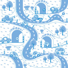 Tapeta Cars on the road. Seamless pattern.