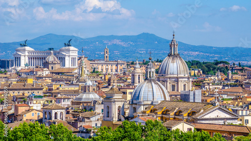 Fotografie, Tablou  view of the beautiful cityscape of rome taken from the top of castel sant´angelo