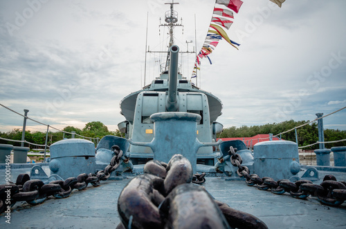 Photo  front view of museum warship