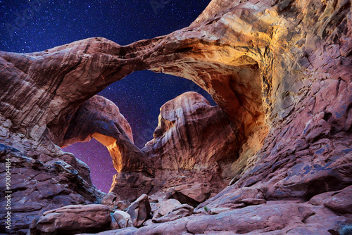 A night shot of Double Arch, Arches National Park, Utah Canvas