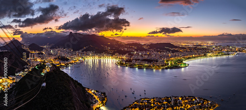 Panoramic view of Rio de Janeiro by night, as viewed from Sugar Loaf peak.