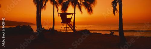 Garden Poster Brown Sunset on lifeguard tower at Wailua Bay, North Shore, Oahu, Hawaii