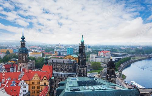 Garden Poster Berlin Elba river and panorama of Dresden