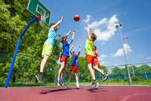 Children Jump For Flying Ball ...