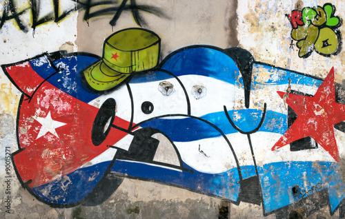 Valokuvatapetti Cuban wall painting in Havana