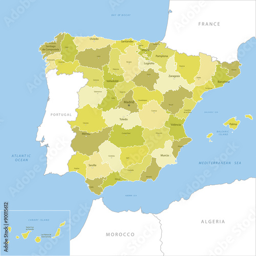 Obraz na plátně Highly detailed map of Spain, vector.