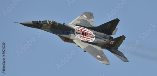 obraz lub plakat Mig-29 of the polish Airforce seen here at the Royal International Air tattoo, Fairford UK