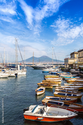 City on the water Napoli and mount Vesuvius in Italy