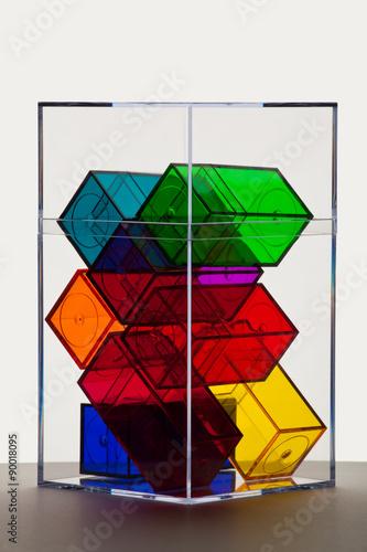 Fotografie, Obraz  Colorful clear boxes back lit