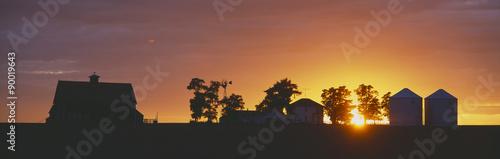 Spoed Foto op Canvas Grijze traf. Farm at Sunset, South Ritzville, Route 261, S.E. Washington