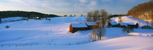 This Is The Jenne Farm At Sunrise. The Surrounding Countryside Is Buried In Snow. It Is Representative Of New England In Winter.