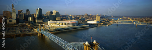 Fotografie, Obraz  This is the Ohio River with the Roebling Suspension Bridge over it