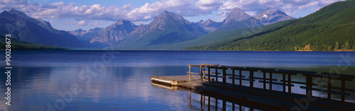 This is a boat dock at Lake McDonald Canvas-taulu