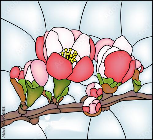 Poważne Naklejka na szybę Kwiaty ogrodowe - kwiat. Witraż, wektor FZ72