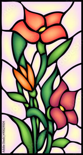 Poważne Naklejka na szybę Kwiaty ogrodowe - kwiat. Witraż, wektor HE68