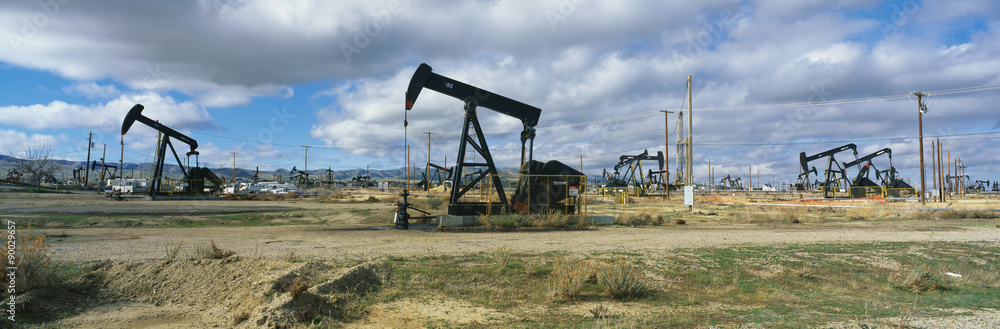 Fototapety, obrazy: This is an oil field with black oil rigs pumping for oil.