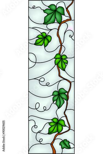piekny-winogrono-z-liscmi-wystroju-pomysl-wektorowa-ilustracja-w-witrazu-stylu
