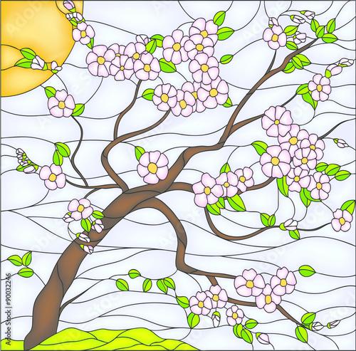 Fotografie, Obraz  Sakura / cherry tree, stained glass window