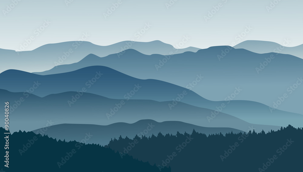 Fototapety, obrazy: Blue mountains in the fog. Vector illustration.