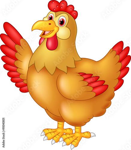 Spoed Foto op Canvas Boerderij Chicken hen waving hand