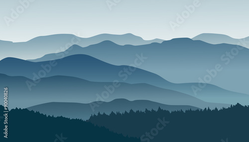 Photo  Blue mountains in the fog. Vector illustration.