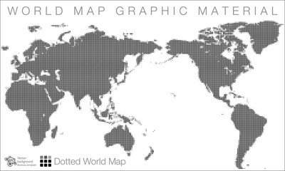 Fototapeta na wymiar World Map #Vector Illustration, Halftone Dot Pattern