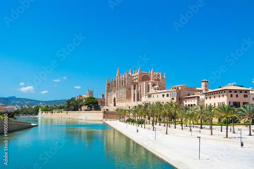 Fotografie, Obraz  Palma de Mallorca, přístav marina Katedrála Mallorca