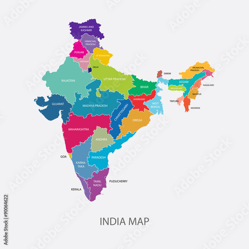 India Map with Regions Colored Vector Illustration - Buy ... on highlighted map of india, abstract map of india, national geographic map of india, world map india, chinese map of india, plain map of india, colors of india, black and white map of india, transparent map of india, colored world map, large map of india, water map of india, labeled map of india, asian map of india, enlarged map of india, small map of india, full map of india, hindu kush map of india, elevation map of india, old map of india,