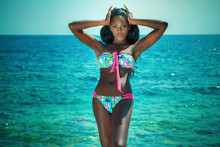 Fashionable Woman Posing In Swimsuit.