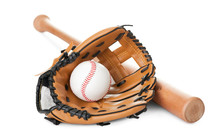 Leather Glove With Baseball An...