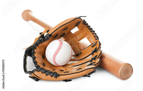 Photo  Leather glove with baseball and bat on white