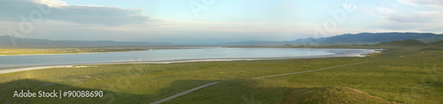 Fotografija  Panoramic view of Soda Lake at sunset from the Carrizo National Monument, the US