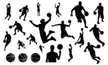 Basket Ball Silhouette Set Vec...