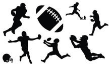 Rugby American Football Silhouette Set Vector