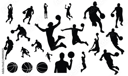 Photo  Basket ball silhouette set vector