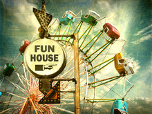 Aged And Worn Vintage Photo Of Fun House Sign With Ferris Wheel