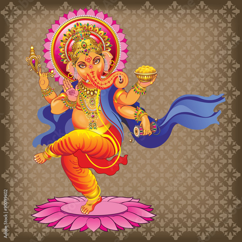 Dancing Ganesha on ornamented background Poster