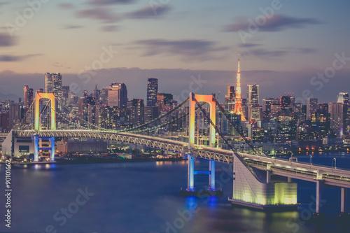 Fototapety, obrazy: Tokyo bay and Tokyo rainbow bridge in evening