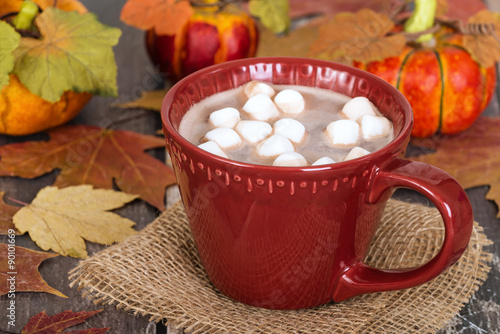 Spoed Foto op Canvas Chocolade Hot Chocolate and Marshmallows in red cup. Rustic background with autumn leaves and pumpkins.